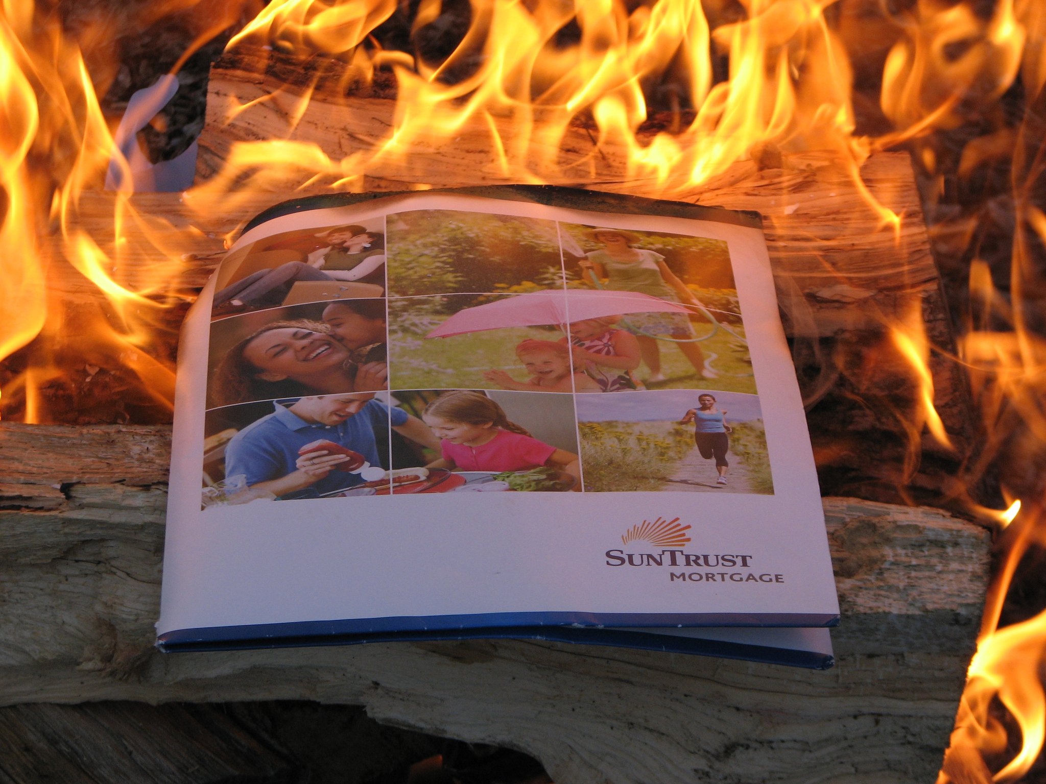 Mortgage-burning party, Spring 2011.  We roasted s'mores over the (non-essential to keep) documents.