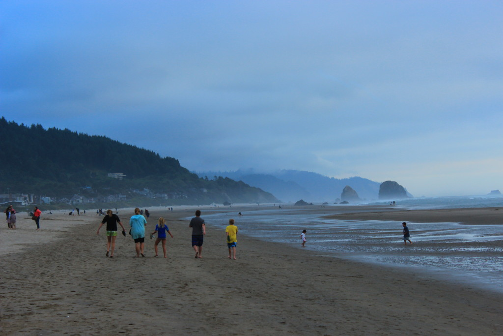 walking down Cannon Beach, OR
