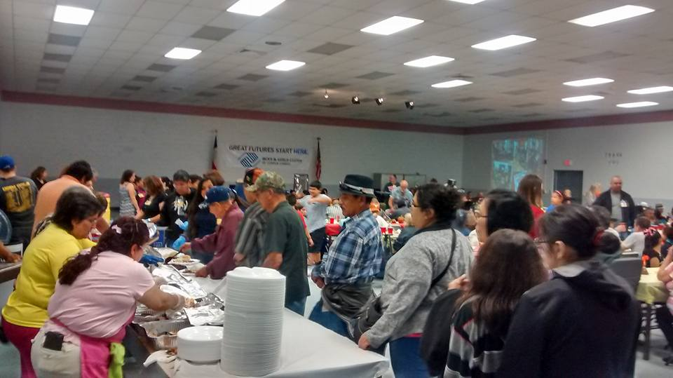 Food line at the Joe Salem Thanksgiving Dinner at the Boys and Girls Club in Corpus Christi, TX
