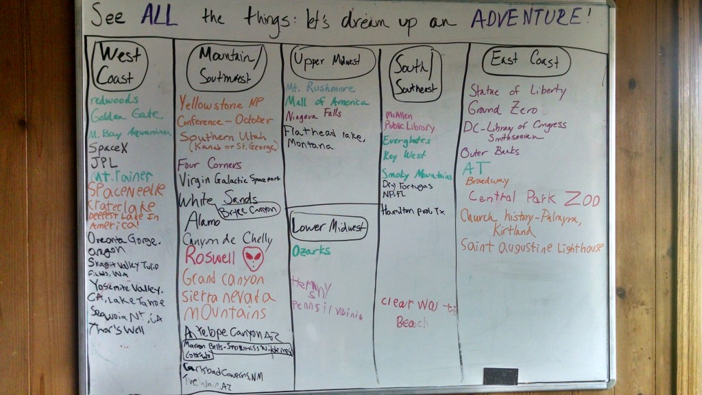 "Our ""adventure list"" from New Year's Day 2015"