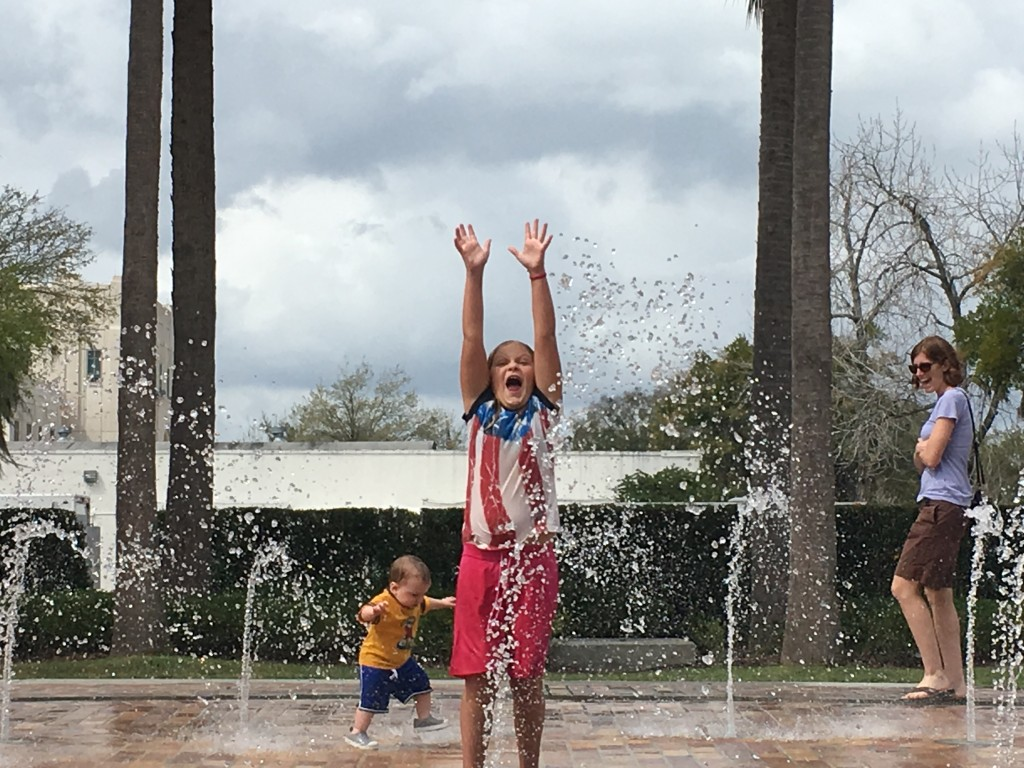 Rachel playing in the fountain at Winter Garden Farmer's Market
